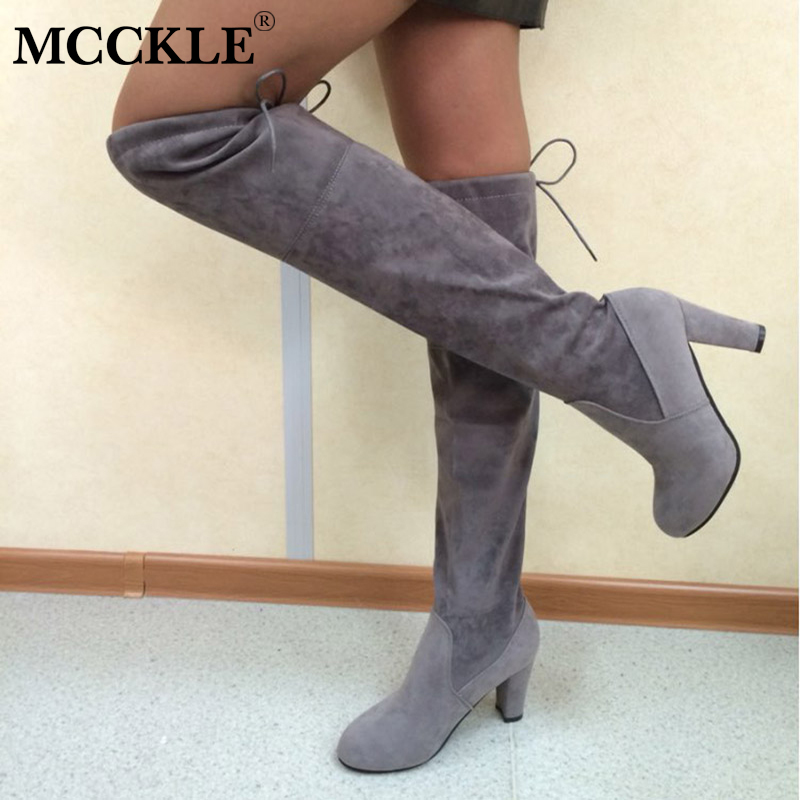 MCCKLE Female Plus Size Thigh High Boots Women Faux Suede Leather High Heels Over The Knee Botas Mujer Shoes Autumn Pumps 34-43 morazora plus size 34 43 new high quality kid suede thigh high boots women shoes over the knee stretch spring autumn botas