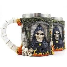 2017 New Stainless Steel Coffee Mug Cup Death Skull Resin Tea Beer Milk Drinkware Creative Copa Friend Gift