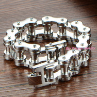 18mm 22cm Heavy Top Design Boys Mens Chain Silver Tone Bike Biker Motor Motorcycle Link 316L