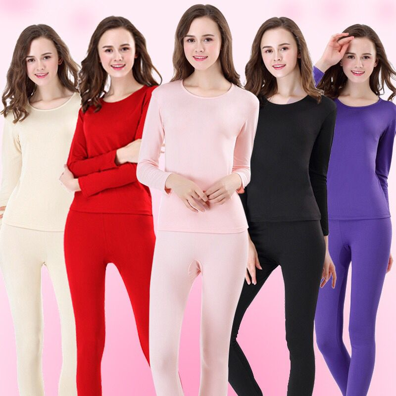 New Winter Thermal Underwear Solid Color Plus Velvet Stretch Slim Fit Comfortable Underwear Female Warm Clothing 2019