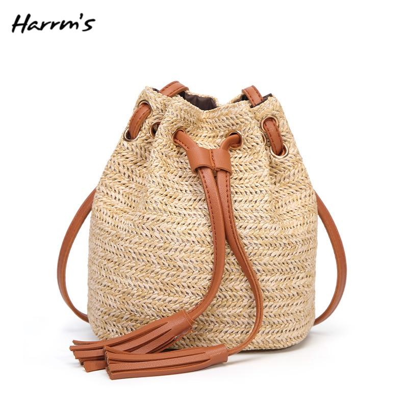 2018 New Handmade Straw Bag Casual Handbag Summer Shoulder Bag Fashion Travel Ladies Weaving Bucket Beach Bag For Women Gift
