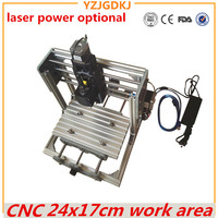 CNC 2417 Mini PCB Milling Machine High Power Laser Wood Carving CNC Router GRBL Control DIY