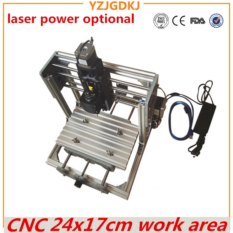 CNC 2417 Mini PCB Milling Machine, High Power Laser Wood Carving CNC Router GRBL Control DIY Engraving for Wood laser aptional cnc 1610 with er11 diy cnc engraving machine mini pcb milling machine wood carving machine cnc router cnc1610 best toys gifts