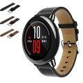 2016 la venta caliente nueva moda correas de reloj de reemplazo negro pu reloj de cuero correa de pulsera de banda para xiaomi huami amazfit a1602