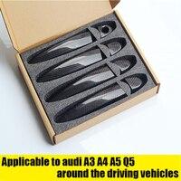 Car styling For Audi Carbon Fiber Auto Door Handle Knob Exterior Trim Covers for Audi A1 A3 A4 A4L A5 Q3 Q5 S4 S5 2015 20172019