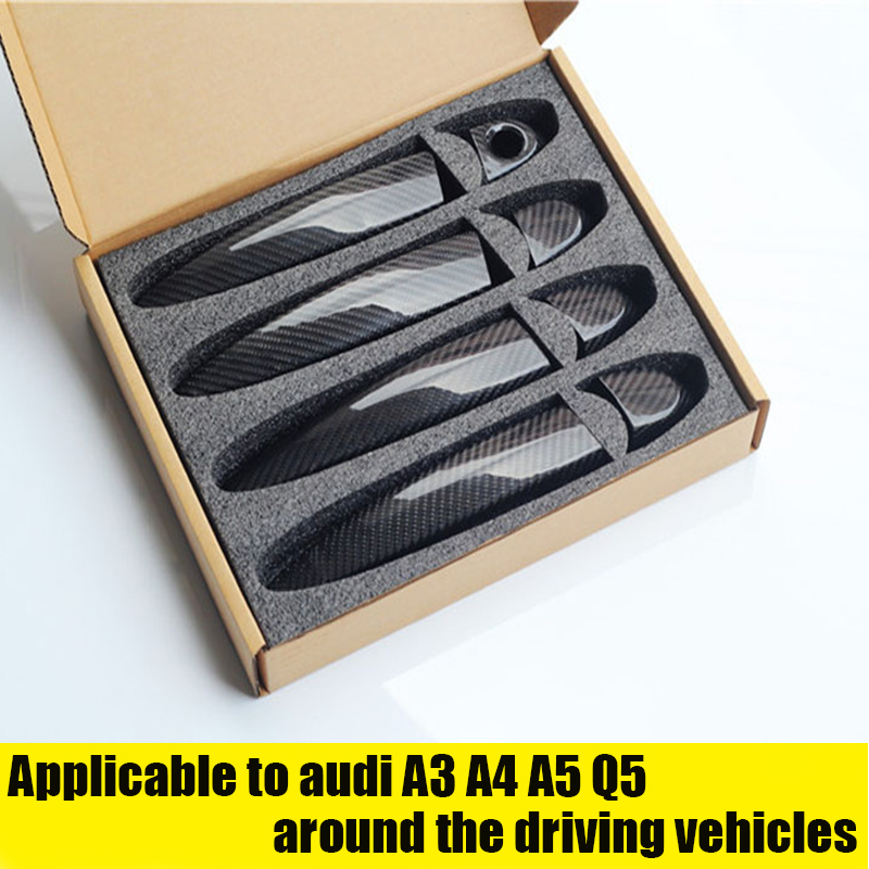 Car styling For Audi Carbon Fiber Auto Door Handle Knob Exterior Trim Covers for Audi A1 A3 A4 A4L A5 Q3 Q5 S4 S5 2015 20172019