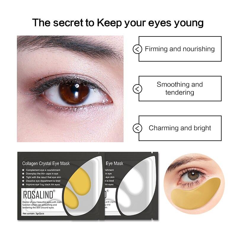ROSALIND Gold Collagen Eye Mask 5pairs Gel Eye Patches For Eye Anti Wrinkle Dark Circles Eye Serum Dark Circle Remover MasK