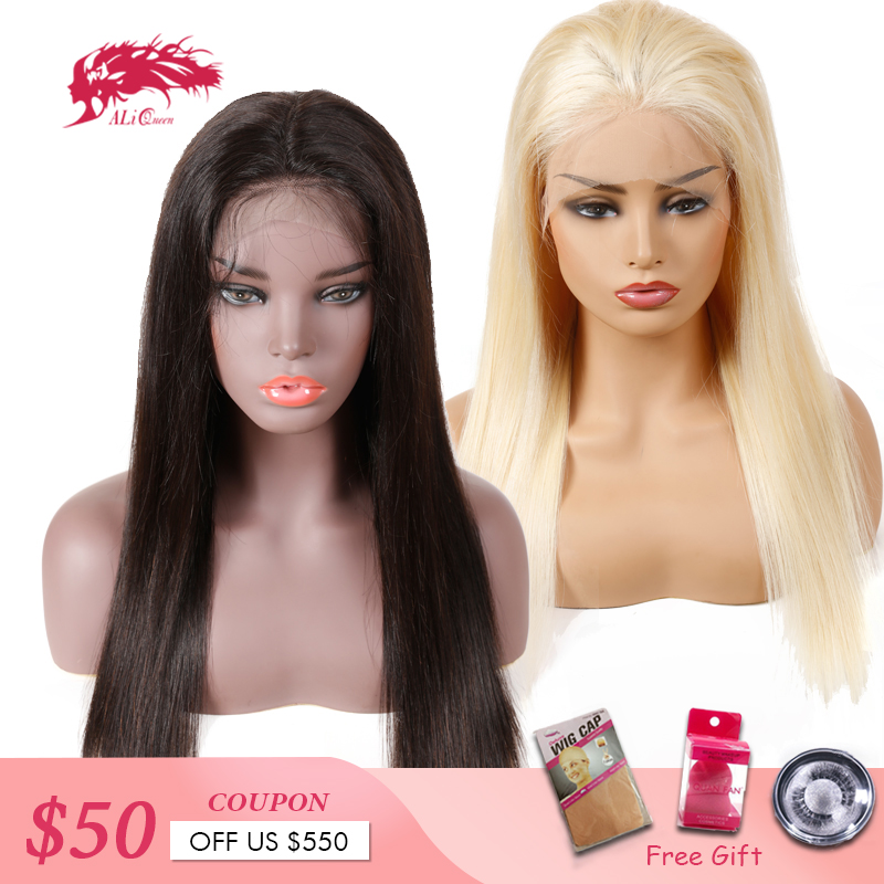613 Blonde/Black Straight Lace Front Wig High Ratio 8A 13x6 Brazilian Remy Human Hair Wigs 8-26 Inches 130%/150%/180% Density