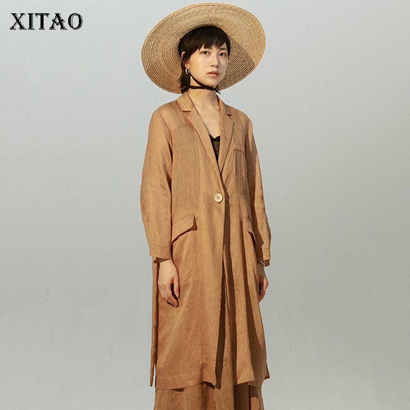 [XITAO] 2018 New Summer Korea Casual Women Solid Color Notched Collar Coats Female Single Button Full Sleeve Blazers KZH1232