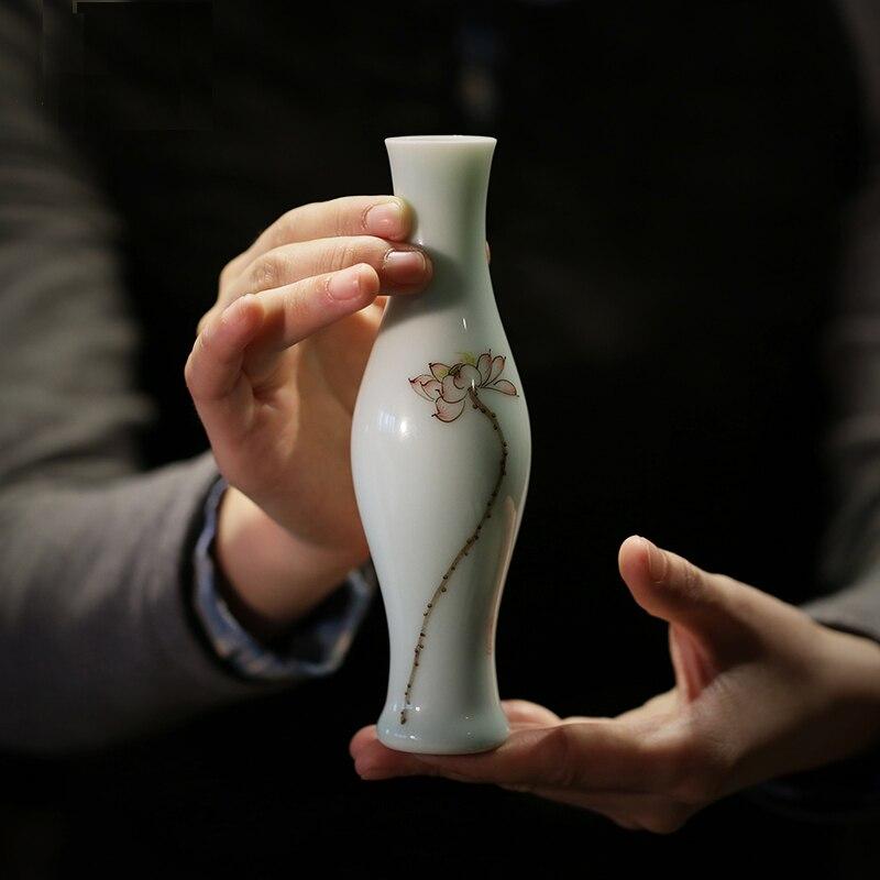 Ceramic Vases Shadow-blue Glaze Vases Small Jars Handpainted Lotus Tabletop Plants Bottles Wedding Decoration Furnishing Article