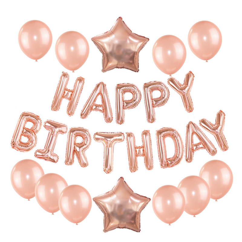Rose Gold Wedding Birthday Party Balloons Happy Birthday Letter Foil Balloon Baby Shower Anniversary Event Party Decor Supplies 2