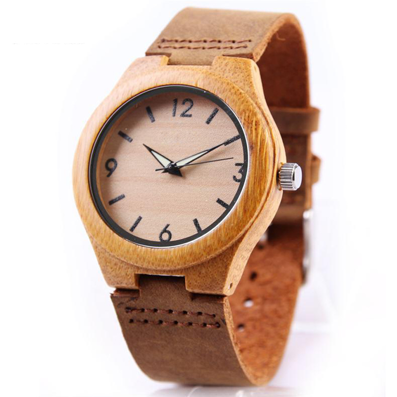 Bamboo Fashion Women Men Wristwatch Casual Leather Strap Luminous Hands Lovers' Quartz Stainless Steel Watch Couple Hardlex Gift basid 2017 new arrival quartz watch couple lovers wristwatch casual fashion genuine leather watches men women sports relogio
