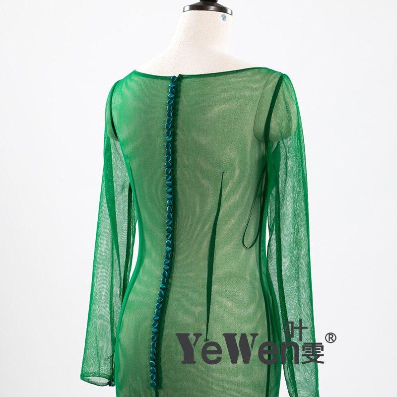 YeWen foto Real Sexy ver a través De cuello redondo, manga larga De tul verde Vestido De Novia sirena vestidos De Novia Vestido De Novia 2019 - 5