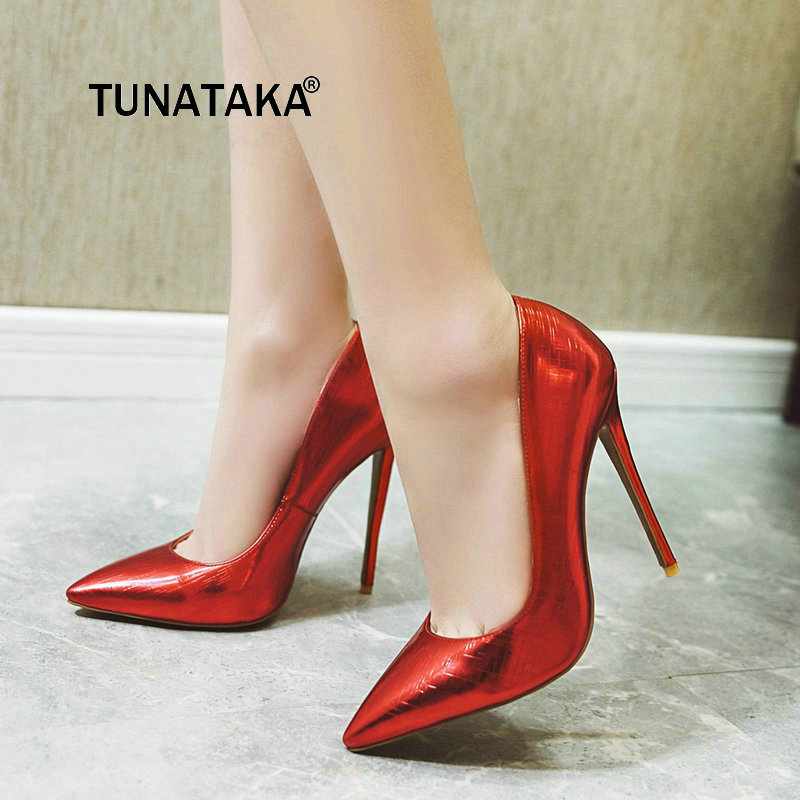Sexy Super Thin High Heel Slip On Lazy Shoes Fashion Pointed Toe Shallow Dress Women Shoes Red Pink Gold Silver
