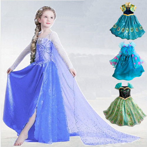 Dress summer style girl Elsa Anna dress Cosplay Children dresses girls party Princess Dress baby clothes froze Free Shipping elsa dress sparkling snow queen elsa princess girl party tutu dress cosplay anna elsa costume flower baby girls birthday dresses
