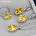 7 Color Options Sparkling Yellow Cubic Zirconia Crystal Fashion Women 925 Sterling Silver Necklace Earrings Jewelry Set JS198