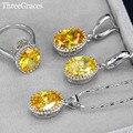7 Opciones de Color Amarillo Brillante Cubic Zirconia Cristalino de La Manera de Las Mujeres 925 Collar de Plata de ley Pendientes de La Joyería JS198