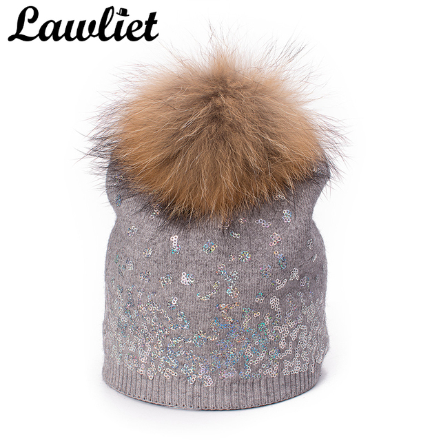 Lawliet Big Natural Raccoon Fur Pom Pom Hat for Women Girl Shimmer Sequin  Cashmere Winter Hat Cap Wool Knitted Beanie Skull Cap 63a02431987