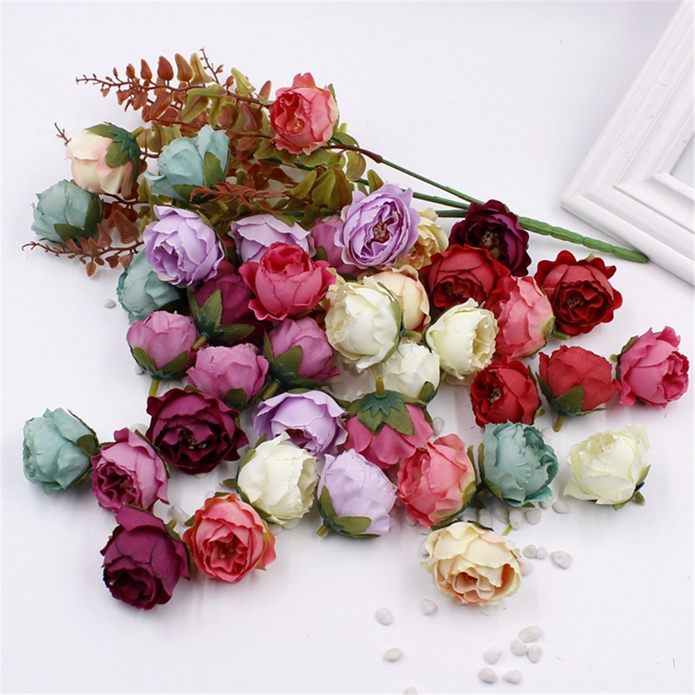 5PCS 4CM Artificial Silk Rose Tea Bud Flowers Head For Wedding Decoration DIY Garland Gift Box Scrapbooking Crafts Fake Flowers