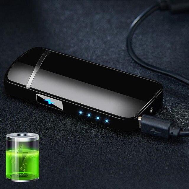 Cargador USB de doble arco encendedor de cigarrillos Plasma a prueba de viento encendedor electrónico sin llama usb sensor táctil encendedores de cigarros