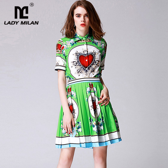 2018 Spring Summer Womens Turn Down Collar Short Sleeves Printed Shirts with Pleated Skirts Fashion Twi Piece Dresses Sets