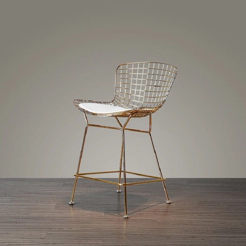 Free Shipping U-BEST High Quality Gold Plated Metal Wire Kitchen Counter Bar Stools With Cushion 25 Inch