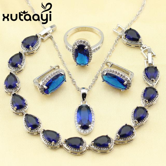 XUTAAYI Criado Topázio Azul de Seda 4 PCS Anel Brincos Pulseira Colar de Pingente de Conjunto de Jóias 925 Sterling Silver