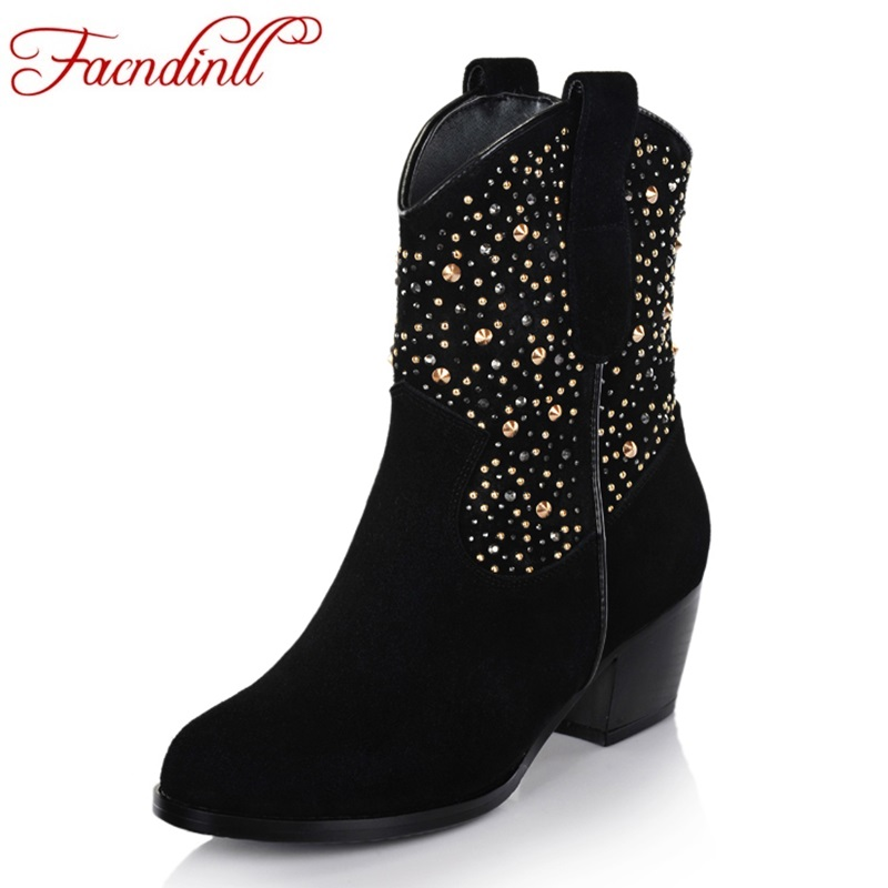 FACNDINLL women genuine leather round toe shoes woman ankle boots autumn winter square heels black rhinestone women riding boots enmayla ankle boots for women low heels autumn and winter boots shoes woman large size 34 43 round toe motorcycle boots