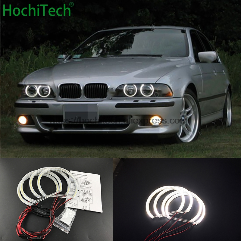 HochiTech Ultra bright White Halo Light car smd LED Angel Eyes Halo ring Kit for BMW 95-00 E39 5 series pre-facelift car styling super bright 102 smd 3014 led car angel eyes halo ring light for honda crv07 xenon white halo ring headlight bulbs 7000k