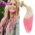 Cheap Ombre Blonde Pink Clip In Hair Unprocessed Brazilian Virgin Hair Silk Straight 10pc/set Pink Clip In Human Hair Extensions