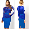 High Quality See Through Royal Blue Short Party Dresses