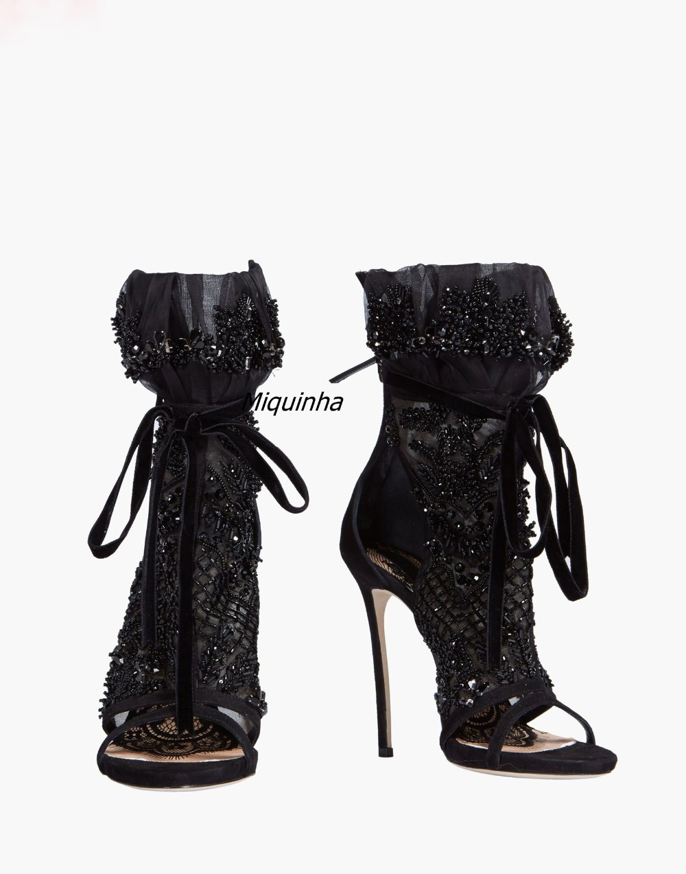 2017 Summer New Fashion Design Black Crystal Lace Up High Heels Sexy Black Mesh Open Toe Stiletto Heel Dress Sandals Women Shoes2017 Summer New Fashion Design Black Crystal Lace Up High Heels Sexy Black Mesh Open Toe Stiletto Heel Dress Sandals Women Shoes