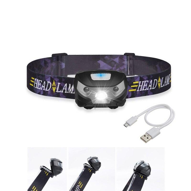 新ミニ充電式 Led ヘッドランプヘッドライトボディモーションセンサー Led ヘッドランプキャンプ懐中電灯を実行するための防水ライト    グループ上の ライト