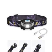 Mini faro LED recargable con Sensor de movimiento del cuerpo, linterna Led para cabeza para acampar, resistente al agua, para correr, novedad