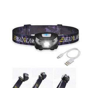 Image 1 - Nieuwe Mini Oplaadbare Led Koplamp Body Motion Sensor Led Head Lamp Camping Zaklamp Waterdicht Voor Running Light