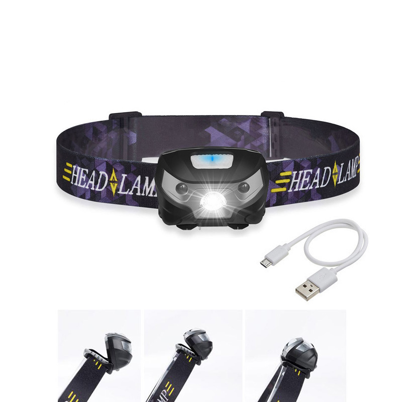 New Mini Rechargeable LED Headlamp Headlight Body Motion Sensor Led Head Lamp Camping Flashlight Waterproof For Running Light