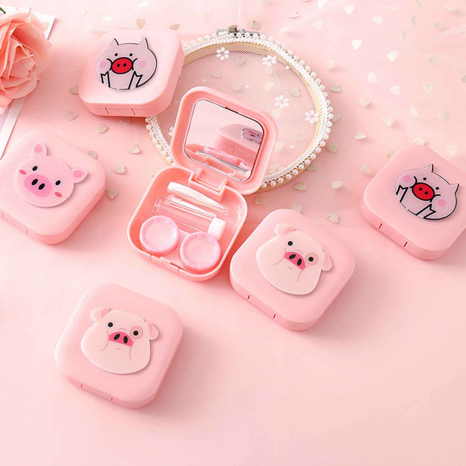 Contact Lens Case Storage Box Container Holder Cute 3D Cartoon Pig Styled With Tweezers Stick Bottle Lens Box Contact Lenses Box