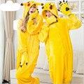 Pokemon Go Pikachu Sleepwear Nightwear Regino Knitting Flannel Pajamas Carnival COsplay Halloween Costume for Men Women