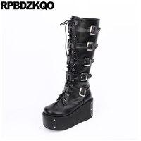 высокие сапоги клинья Harajuku черный 12 44 обувь ремни женщины больших размеров зашнуровать на каблуке Готическая платформе панк Muffin 13 45 мотоцик