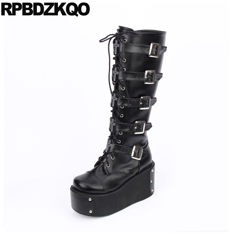 937d13a1296 Knee High Wedge Harajuku Black 12 44 Shoes Belts Women Big Size Lace Up Heel  Gothic