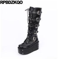 Knee High Wedge Harajuku Black 12 44 Shoes Belts Women Big Size Lace Up Heel Gothic Platform Boots Punk Muffin 13 45 Motorcycle