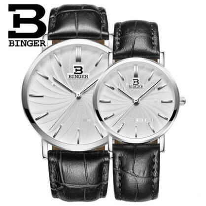 Geneva 2017 New Brand Binger Quartz Watch Lovers Watches Women Men Dress Watches Leather Dress Wristwatches Fashion Casual Watch 2017 new couple watches lovers guanqin brand quartz watch women round leather fashion casual men wristwatches female sport watch