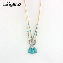 цена на LongWay Bohemia Vintage Tassels Chain Craving Coin Collares Turquoise Pendant Multilayer Necklace For Women Jewelry SNE160075103