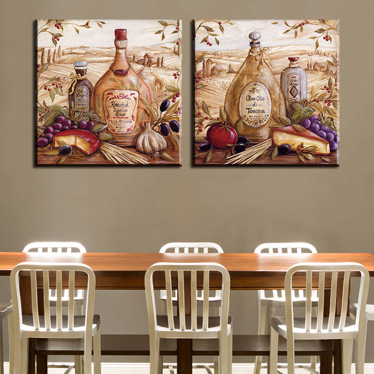 Mordern 2 шт кухонная комната и столовая настенные картины для домашнего декора идея масляной живописи печать на холсте без рамки!