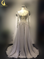 Rhine Real Sample Image Elie Saab Luxurious Sliver Gray Long Sleeves Beads Sequins Chiffon A-line Gown Evening Dresses