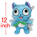 "Anime Cartoon Fairy Tail Happy Blue Cat Neko Plush Toys Peluche Stuffed Dolls Baby Kids Friends Gift 12""30cm"