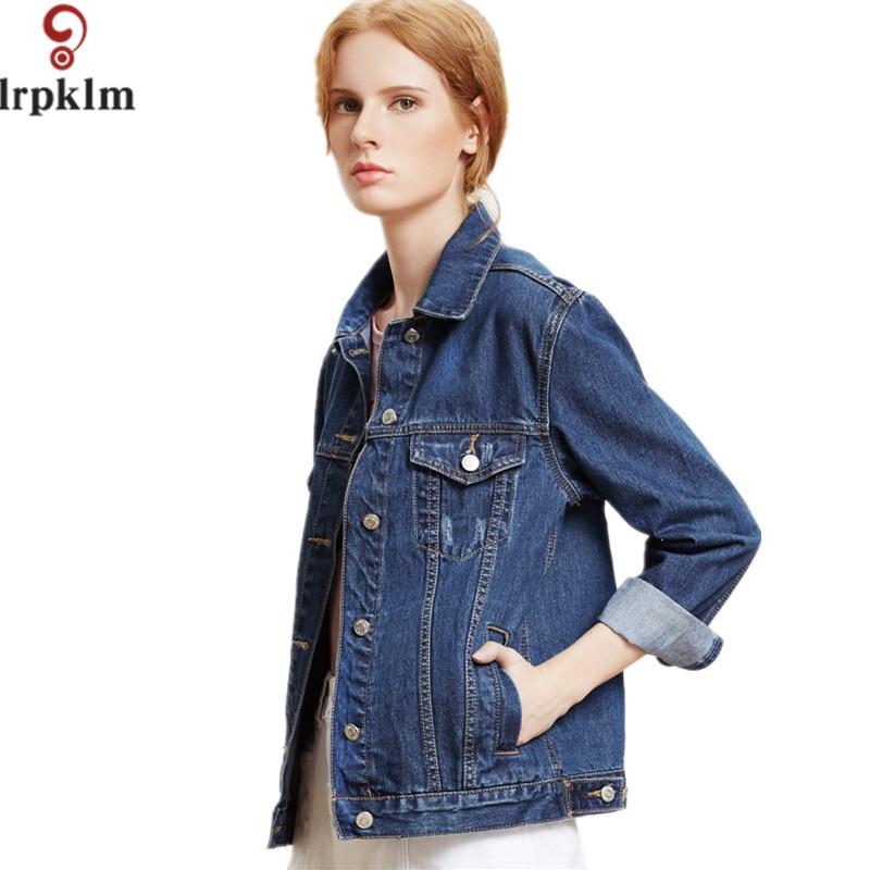 Famous Brand Denim Jacket Women Fashion Vintage Long Sleeve Black Jean Coat Ladies Girl Denim ...