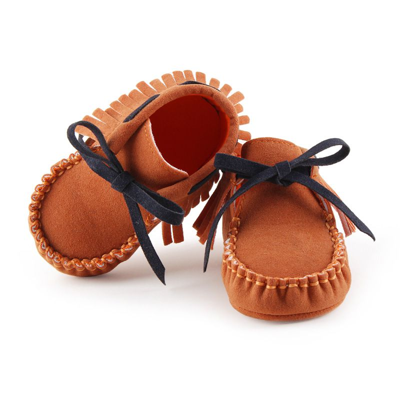 Cute Baby Soft PU Suede Leather Frist Walkers Shoes Bebe Fringe Soft Soled Non-slip Footwear Crib Lace-up For Toddler Girls