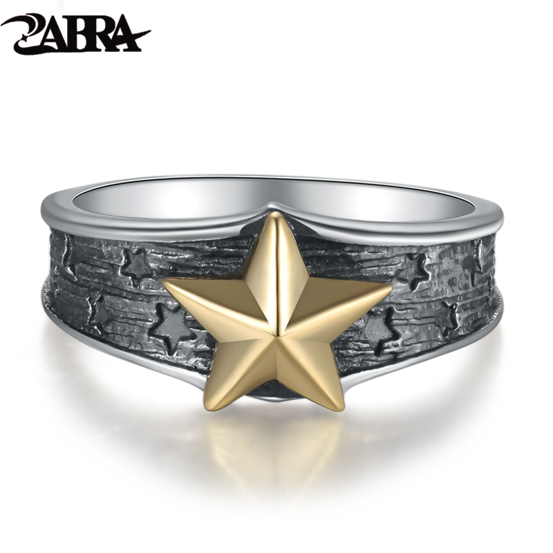 ZABRA 925 Sterling Silver Gold Color Star 7mm Small Ring for Men Women Vintage Punk Rock Retro Silver Jewelry Men Accessories punk style solid color hollow out ring for women