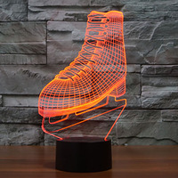The Skating Shoes Lamp 3d Illusion Visualization Led Nightlight Festival Lantern Christmas Decoration Party Favor Glow